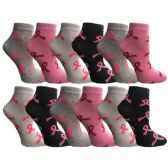 12 Pairs Womens Breast Cancer Awareness Socks, Pink Ribbon Value Pack (Ankle Socks, 12 Pairs (Ankle Socks)