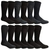 12 Pairs of SOCKSNBULK Mens Fashion Designer Dress Socks, Cotton Blend (Assorted N)