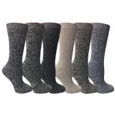 6 Pairs of excell Women's Wool Socks, Heavy Comfort Knit Ribbed Hiking Sock (Pack F) ( 9-11)