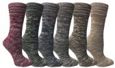 6 Pairs of excell Women's Wool Socks, Heavy Comfort Knit Ribbed Hiking Sock (Pack L) ( 9-11)