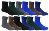 12 Pairs Of SOCKSNBULK Mens Soft Warm Fuzzy Socks, Solid Colors, #1469,Assorted,10-13