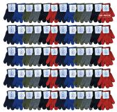 60 Pair Pack Wholesale Kids Winter Warm Stretch Gloves, Many Colors
