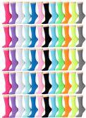 60 Pair Pack Of Womens Wholesale Bulk Neon Color Crew Socks
