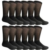 12 Pairs of Multi Pack Diabetic Cotton Crew Socks Soft Non-Binding Comfort Socks (10-13)