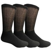SOCKSNBULK Mens Cotton Diabetic Non-Binding Crew Socks Size 10-13 Black