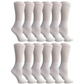 12 Pairs of Multi Pack Diabetic Cotton Crew Socks Soft Non-Binding Comfort Socks (9-11) by Yacht & Smith