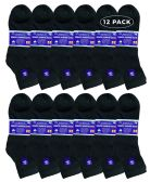 Yacht & Smith Men's King Size Loose Fit Non-Binding Cotton Diabetic Ankle Socks Black Size 13-16 12 pack