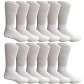 12 Pairs of Excell Youth Boy Socks, Cotton Socks for Boys (9-11, White)