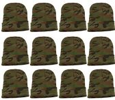12 Units excell Mens Womens Warm Winter Hats in Assorted Colors, Mens Womens Unisex (Green Camo)