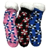Prestige Edge 3 Pairs of Sherpa Fleece Lined Slipper Socks, Gripper Bottoms, Best Warm Winter Gift (Assorted With Color Print)