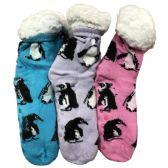 Prestige Edge 3 Pairs of Sherpa Fleece Lined Slipper Socks, Gripper Bottoms, Best Warm Winter Gift (Lt.Pink/Lt.Purple With Aqua)