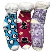 Prestige Edge 3 Pairs of Sherpa Fleece Lined Slipper Socks, Gripper Bottoms, Best Warm Winter Gift (Fuchsia/Purple W Turquoise)