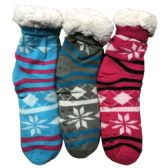 Prestige Edge 3 Pairs of Sherpa Fleece Lined Slipper Socks, Gripper Bottoms, Best Warm Winter Gift (Fuchsia/Lt.Grey W Aqua)
