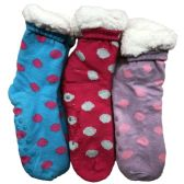 Prestige Edge 3 Pairs of Sherpa Fleece Lined Slipper Socks, Gripper Bottoms, Best Warm Winter Gift (Fuchsia/Lt,Purple withe Aqua)