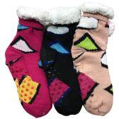 Prestige Edge 3 Pairs of Sherpa Fleece Lined Slipper Socks, Gripper Bottoms, Best Warm Winter Gift (Assorted With White)