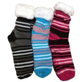 Prestige Edge 3 Pairs of Sherpa Fleece Lined Slipper Socks, Gripper Bottoms, Best Warm Winter Gift (Assorted P)