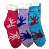 Prestige Edge 3 Pairs of Sherpa Fleece Lined Slipper Socks, Gripper Bottoms, Best Warm Winter Gift (Assorted B)