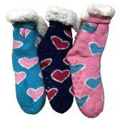 Prestige Edge 3 Pairs of Sherpa Fleece Lined Slipper Socks, Gripper Bottoms, Best Warm Winter Gift (Assorted N)