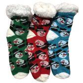 Prestige Edge 3 Pairs of Sherpa Fleece Lined Slipper Socks, Gripper Bottoms, Best Warm Winter Gift (Green/Red W Turquoise)
