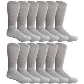 King Size Multi Pack Diabetic Cotton Crew Socks Soft Non-Binding Comfort Socks (12 Pairs, Gray, Size 13-16)