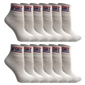 12 Pairs of SOCKS'NBULK USA Cotton Sport Athletic Ankle Socks, Sport Sweat Socks USA Themed (White, 9-11)