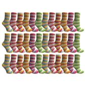 excell Womens Butter Soft Striped Fuzzy Socks With Gripper Bottom (Rainbow 36 Pack, 9-11)