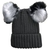 Womens Warm Double Pom Pom Winter Beanie Hat Multi Color Pom Pom  (1 Piece Grey)