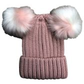 Womens Warm Double Pom Pom Winter Beanie Hat Multi Color Pom Pom  (1 Piece Pink)