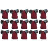 12 Units of SOCKSNBULK Mens Womens Warm Winter Hats in Assorted Colors, Mens Womens Unisex (15 Pack Wine Mix)