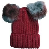 Womens Warm Double Pom Pom Winter Beanie Hat Multi Color Pom Pom  (1 piece Wine)