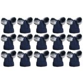 12 Units of SOCKSNBULK Mens Womens Warm Winter Hats in Assorted Colors, Mens Womens Unisex (15 Pack Navy Mix)