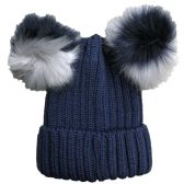 Womens Warm Double Pom Pom Winter Beanie Hat Multi Color Pom Pom  (1 Piece Navy)