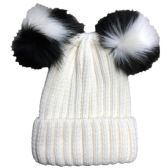 Yacht & Smith Womens 3 Inch Double Pom Pom Ribbed Beanie Hat, Cream