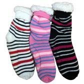 Prestige Edge 3 Pairs of Sherpa Fleece Lined Slipper Socks, Gripper Bottoms, Best Warm Winter Gift (Assorted G)