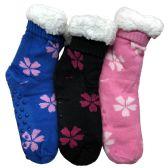 Prestige Edge 3 Pairs of Sherpa Fleece Lined Slipper Socks, Gripper Bottoms, Best Warm Winter Gift (Assorted D)