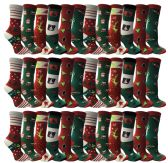 36 Pairs of Christmas Printed Socks, Fun Colorful Festive, Crew, Knee High, Fuzzy, Or Slipper Sock by WSD (Size 9-11)