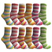 excell Womens Butter Soft Striped Fuzzy Socks With Gripper Bottom (Rainbow 12 Pack, 9-11)GǪ