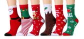 Excell Women Christmas Fun Colorful Printed Holiday Socks (Assorted 6 Pack (Non Skid/Gripper Bottom))
