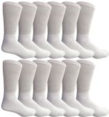 12 Pair King Size Mens Diabetic Crew Socks, Loose Fit Top Soft Cotton (White, King 13-16)