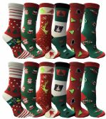 12 Pairs of Christmas Printed Socks, Fun Colorful Festive, Crew, Knee High, Fuzzy, Or Slipper Sock by WSD (Size 9-11)