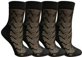 4 Pairs of Yacht&Smith Fisnet Ankle Socks, Mesh Patterned Anklet Sock (Pack C)