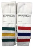Mens Tube Socks, Retro Style, Anti-Microbial, Padded Sole, Comfort Knit Premium Sock (6 Pack)