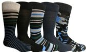 Yacht&Smith 5 Pairs of Mens Dress Socks, Colorful Fun Pattern Design, Casual (Assorted R)