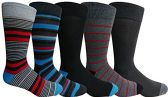 Yacht&Smith 5 Pairs of Mens Dress Socks, Colorful Fun Pattern Design, Casual (Assorted H)