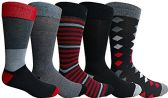 Yacht&Smith 5 Pairs of Mens Dress Socks, Colorful Fun Pattern Design, Casual (Assorted B)