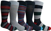Yacht&Smith 5 Pairs of Mens Dress Socks, Colorful Fun Pattern Design, Casual (Assorted C)