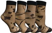 4 Pairs of Yacht&Smith Fisnet Ankle Socks, Mesh Patterned Anklet Sock (Pack E)
