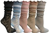 Yacht&Smith 5 Pairs Ruffle Slouch Socks for Women, Unique Frilly Cuff Fashion Trendy Ankle Socks (5 Pairs Sheer Top Ruffle)