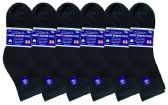 6 Pack of Womens Ring Spun Cotton Diabetic Neuropathy And Edema Ankle Socks (Black)