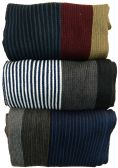 Yacht&Smith 3 Pack Designer Winter Scarves, Stripe Patterned Neck Scarf, Unisex (Option C) One Size